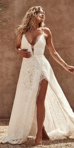 hottest wedding dresses 2020 with spaghetti straps sexy neckline lace boho graceloveslace