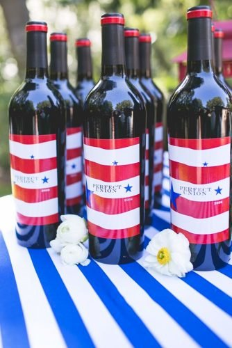 independence day wedding bottle decor Hazy Lane Studios
