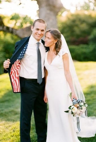 independence day wedding groo suit with flag Jamie Clayton