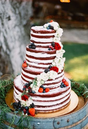 independence day wedding naked cake Allie Lindsey Photography
