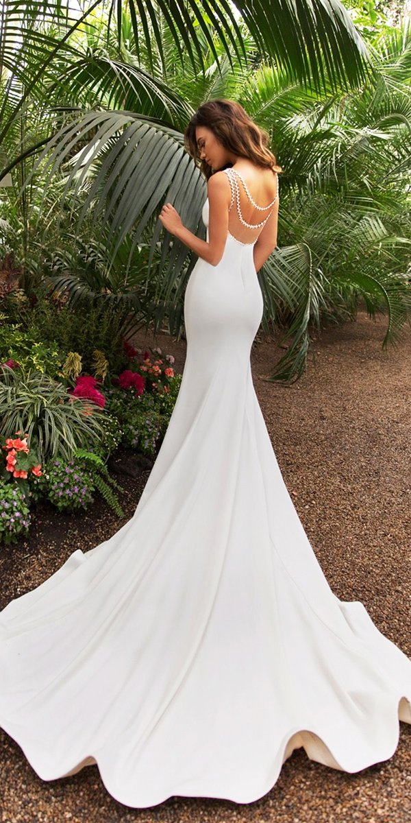mermaid wedding dresses simple low back country romantic crystal design