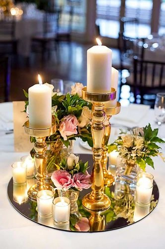 mirror wedding ideas centerpice with candle Van Middleton