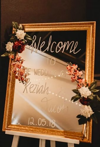 mirror wedding ideas floral reception sign elizajade
