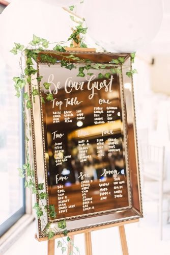 mirror wedding ideas reception menu sign Christina Sarah Photography