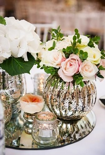 mirror wedding ideas table centerpiece with roses Especially Amy