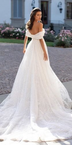 off the shoulder wedding dresses a line romantic with train millanova