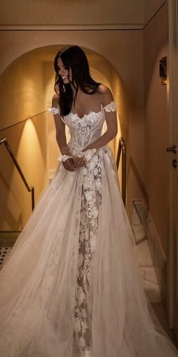 off the shoulder wedding dresses a line sweetheart neckline floral appliques galialahav