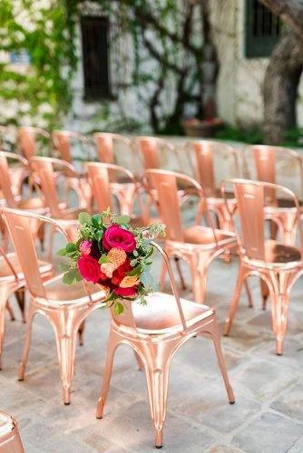 rose gold wedding decor chairs for ceremony Kaysha Weiner Photography