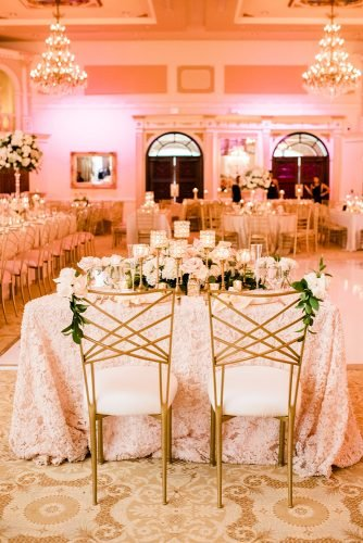 rose gold wedding decor chic reception A.J. Dunlap Photography