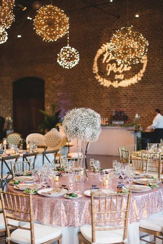 rose gold wedding decor chic table decor Izzy Hudgins Photography