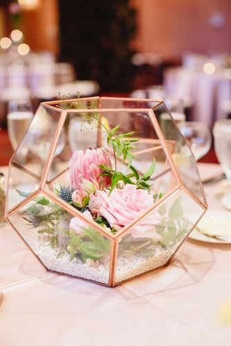 rose gold wedding decor floral centerpiece Featherology
