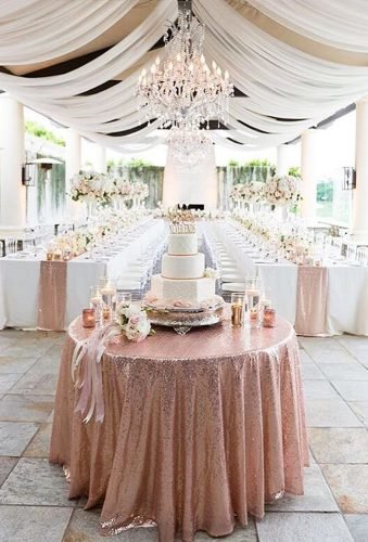 rose gold wedding decor glitter table corch ryonlockhartphotography