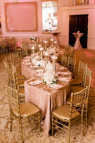 rose gold wedding decor reception decor A.J. Dunlap Photography