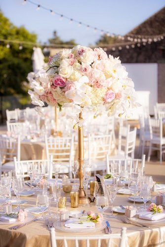 rose gold wedding decor tall rose centerpiece Clove Kin