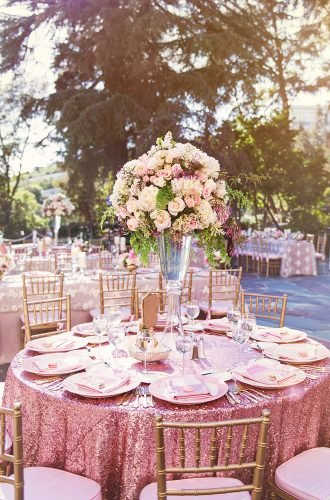rose gold wedding decor tall centerpiece chelseanicole