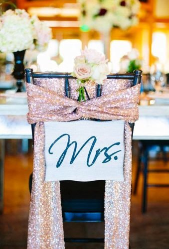 rose gold wedding decor wedding chair decor flowers snd sign Al Gawlik Photography