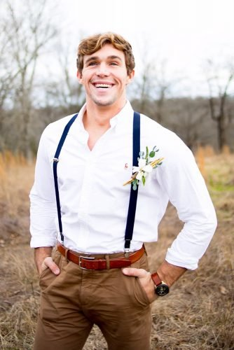 rustic groom attire white shirt with suspenders boutonniere lauren haley