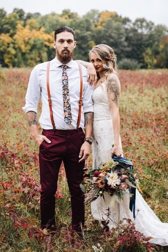 rustic groom attire with suspender floral tie country western hannah marchien