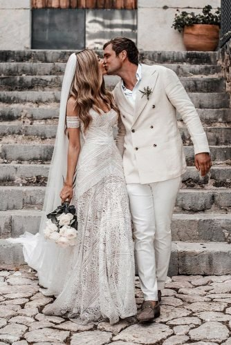rustic groom attire with floral tie country western hannah marchien white jacket simple country tali photo