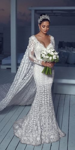 sexy wedding dresses ideas mermaid with illusion long sleeves sweetheart neckline walidshehabhautecouture