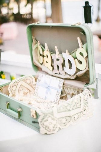 shabby chic vintage wedding decor ideas cards box Raquel Sergio