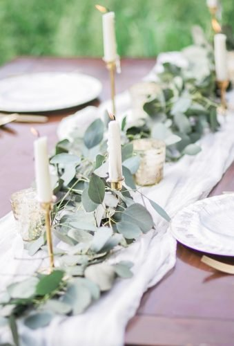 shabby chic vintage wedding decor ideas greenery table runner white.birch photography