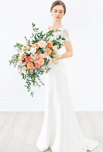 silk wedding bouquets coral bouquet rachelaclingen