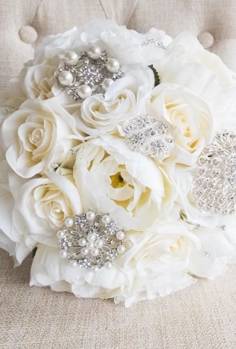 silk wedding bouquets white roses with jewerly laurelsilkflorist