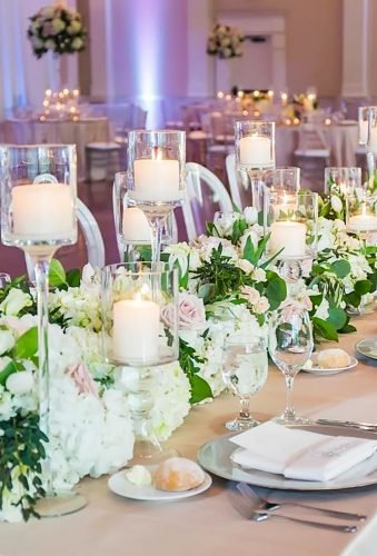 simply chic wedding flower decor ideas candle table decor vuephoto