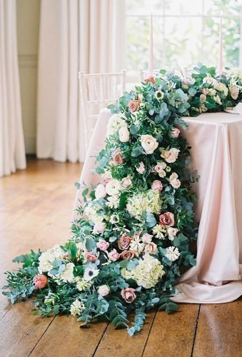 simply chic wedding flower decor ideas floral table runner imogenxiana