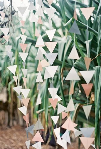 wedding backdrop ideas geometric paper backdrop Byron Loves Fawn