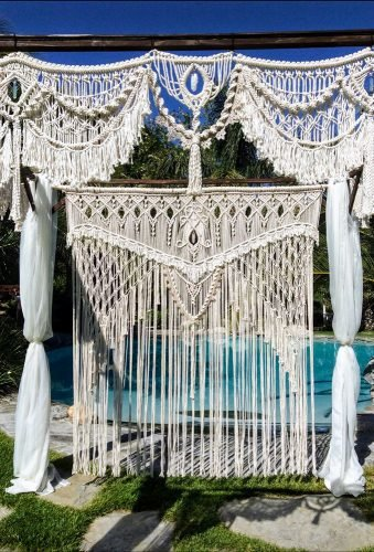 wedding backdrop ideas macrame ceremony backdrop MacrameElegance
