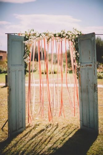 wedding backdrop ideas ribbon backdrop old door Soul Pics