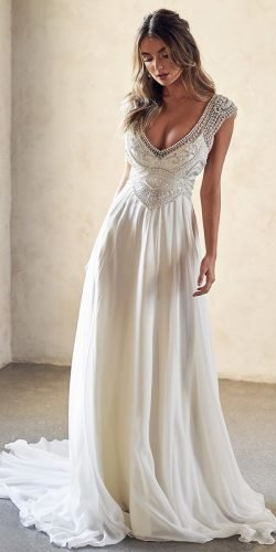wedding dress designers a line with cap sleeves jeweled beaded top anna campbell