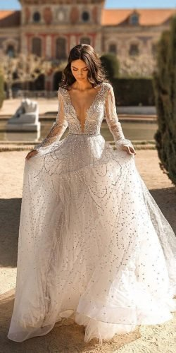 wedding dress designers a line with long sleeves deep v neckline sequins julievinobridal