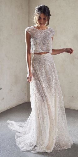 wedding dress designers with cap sleeves sequins detached skirt annacampbellbridal