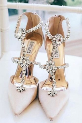 wedding shoes with heels stones luxury badgleymischka