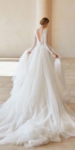 best wedding dresses ball gown with long sleeves lace v back rosa clara