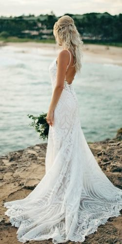 best wedding dresses beach with spaghetti straps with train allurebridals