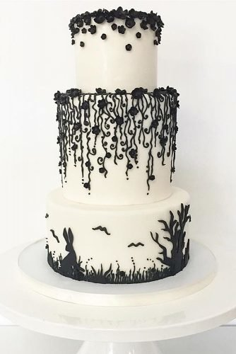 black and white wedding cakes white cake