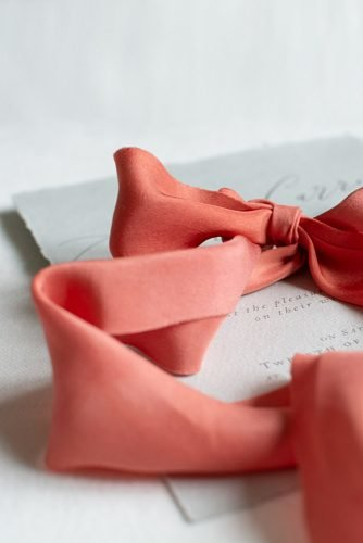 coral wedding decorations wedding invitations coral ribbon