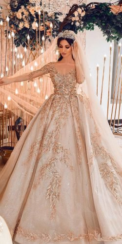 disney wedding dresses ball gown with sleeves gold floral ax armina
