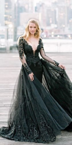 gothic wedding dresses black with illusion long sleeves lace with overskirt pninatornai