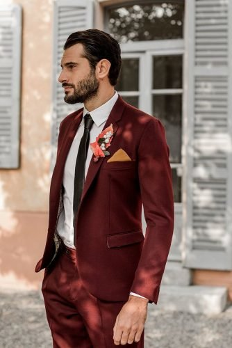 groom suits burgundy with tie rustic boutonniere camillaanchisi