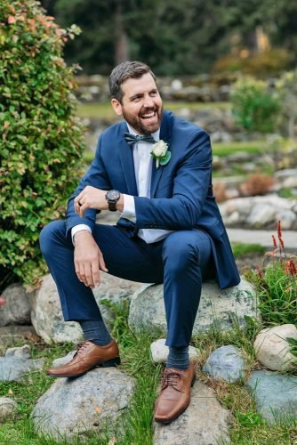 groom suits navy with bow tie country rustic env photography