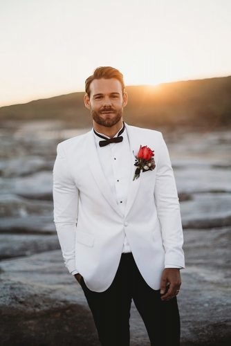 groom suits white jacket with bow tie boutonniere the paper fox