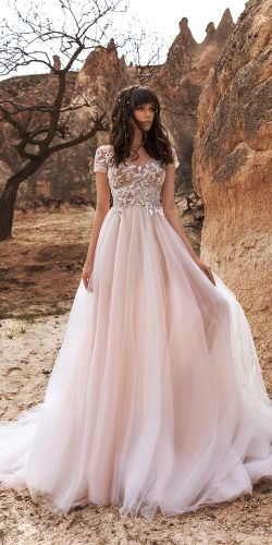 katherine joyce wedding dresses a line with cap sleeves floral top blush