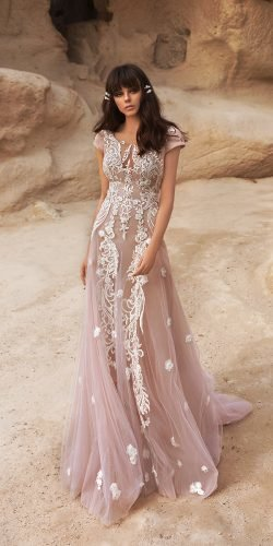 katherine joyce wedding dresses a line with cap sleeves lace blush romantic