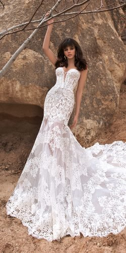 katherine joyce wedding dresses fit and flare strapless lace train beach