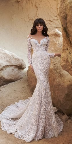 katherine joyce wedding dresses fit and flare with long sleeves illusion neckline 2020